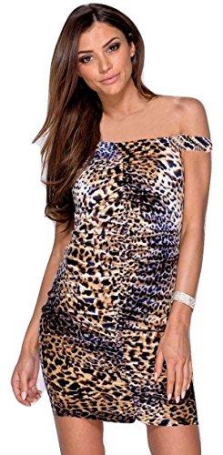 Damen Celeb inspiriert Leopard Katze Kleid Crop Top Bardot Halterneck eine Schulter Cami EUR Größe 34-42 (EUR 38 (UK 10), Leopard Bardot Kleid)
