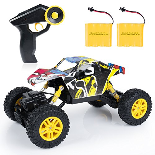 SGILE RC Car Remote Control Car - 1:18 Scale 4WD 4x4 Rock Crawlers Off-Road Vehicle, 2.4Ghz Exquisite Rechargeable Buggy Car Toy, Electric Racing Monster Truck Climber, Yellow