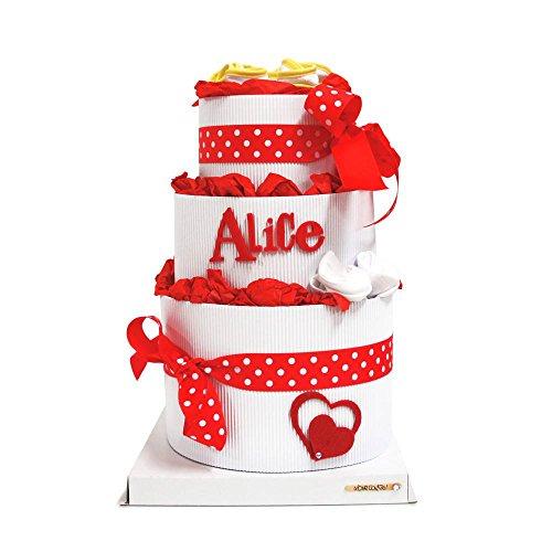 Torta di pannolini lovecake – modello special (misura 3, rossa). torta di pannolini pampers professionale, personalizzabile con nome della bimba