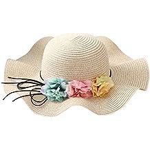 CHIC-CHIC Chapeau Fille Enfants Bébé Soleil Bonnet de Paille Mignon Fleur  Floral Plage Voayge abd44513192