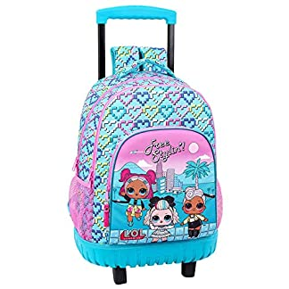 Lol Surprise Hearts Mochila Grande con Ruedas Carro Fijo, Trolley