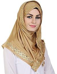 Momin Libas Women's Viscose Embroidered Hijab (HVC45017_Gold_Medium)