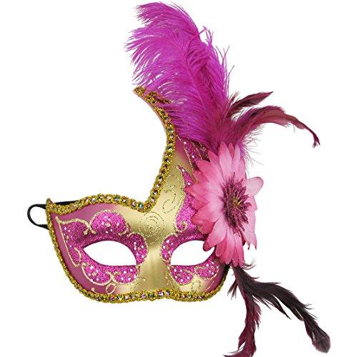 Feder Sexy Spitze Partei-Maske Venetian Carnival Anonymous Mask gespickt mit Strass-Kostümball -Maske