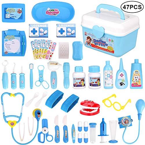 Faburo 47 Stück Arztkoffer Kinder Medizinisches Spielzeug Doktor Set Lernspielzeug Rollenspiel Arzt Spielzeug für Kinder