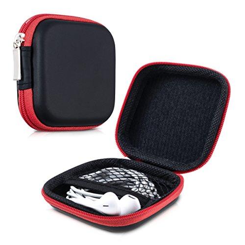 kwmobile In-Ear Kopfhörer Tasche - In Ear Headphones Schutztasche - Earphones Etui Case Cover Hülle für Kopfhörer in Rot thumbnail