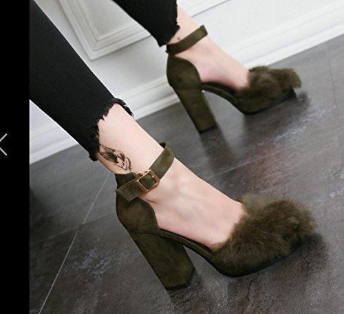 Hgtyu -en El Otoño Zapatos De Mujer De Moda Con Zapatos De Tacón Alto Huecos Sujetadores Ranurados Cabeza Redonda Gruesa Y Sexy Zapatos Vacíos Laterales Solos Brown