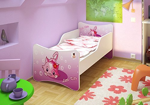 Best For Kids Kinderbett OHNE MATRATZE IN 8 GRÖSSEN UND 32 Designs + GRATIS (90x200, Little Kitty) -