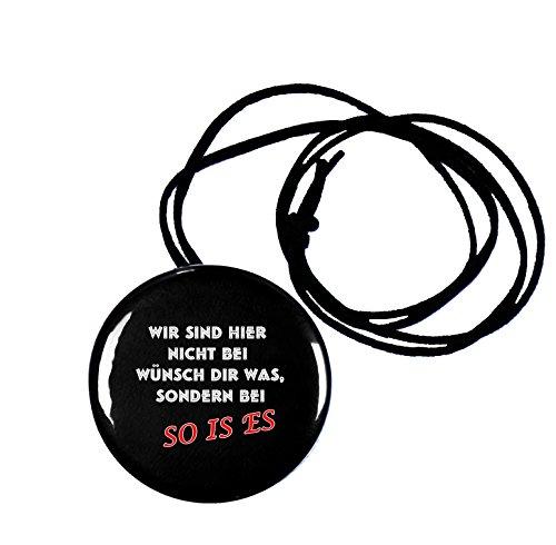 runder Flaschenöffner Button 56 mm mit Band mit witzigen Spruch So is es
