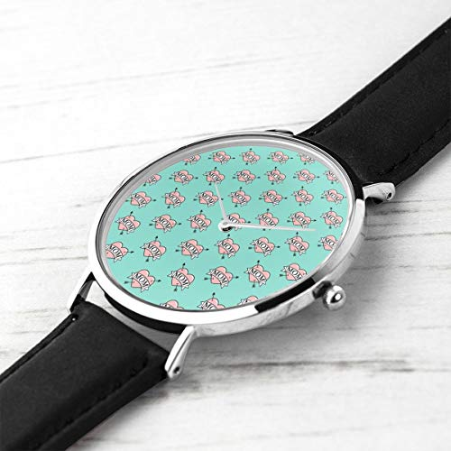 Unisex Ultra Thin Fashion Minimalist Armbanduhren Mom Herz Tattoo Pink On Teal CBS Wasserdicht Quarz Casual Watch Mens Womens
