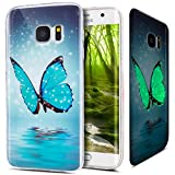 Galaxy S7 Edge Hülle,Galaxy S7 Edge Schutzhülle,ikasus Bunte Gemalt Muster [Leuchtend Luminous] Handyhülle TPU Silikon Hülle Handy Hülle Case Tasche Schutzhülle für Galaxy S7 Edge,Blau Schmetterling