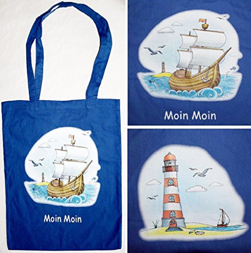 Leuchtturm Baumwolle (Maritime Baumwoll Tragetasche Jute Beutel Blau Segelschiff oder Leuchtturm 41x36 Moin Moin (Leuchtturm))