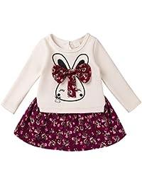 YiZYiF Ropa De Niñas Bebé 2 PCS Conjuntos Top Camiseta Manga Larga con Conejito y Falda