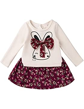 YIZYIF Ropa De Niñas Bebé 2 PCS Conjuntos Top Camiseta Manga Larga con Conejito y Falda roja para niña 12M-6Años