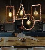 #10: Vintage Geometric Edison lamp Rope Hanging/Pendant, E27 Holder, Decorative, Urban Retro Style, Baze Color.