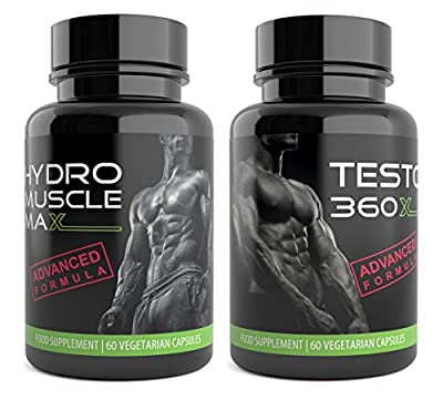 Hydro Muscle Max and Testo XL 360 | 120 Testosterone Boosters for Men Ultra Testo Tribulus Extreme Testosterone Supplements Bundle Pack by Natural Answers by Natural Answers