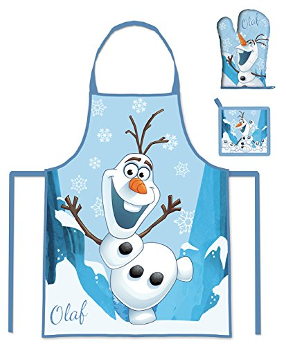 frozen inliner Frozen Olaf 3 Teiliges Küchen-Set Schürzen-Set für Kinder im Geschenkkarton