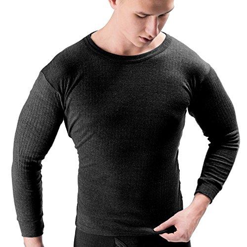 Herren Thermounterhemd langarm gerippt aus atmungsaktiver Baumwolle Anthrazit 3XL