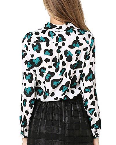 Femme Leopard Slim Revers A Manches Longues Chemise Vert