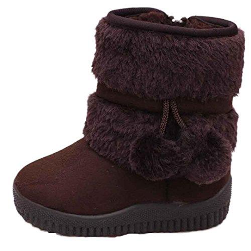 Neu Warme Schneeschuhe Mädchen Kinder Ball Hirschleder Winter Baby Baumwolle Schuhe Boot Stiefel Luckygirls (18-24M, pink)