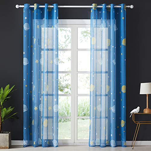 Topfinel tende voile stelle per bambini blu con occhielli decorativi finestra balcone 140x245cm per casa 2 pezzi