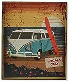 AVENUELAFAYETTE Plaque murale métal Van vintage - Surf (Bleu)