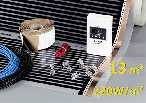 13m2, 220W/m2 Infrarotfolie mit Thermostat für elektrische Fußbodenheizung