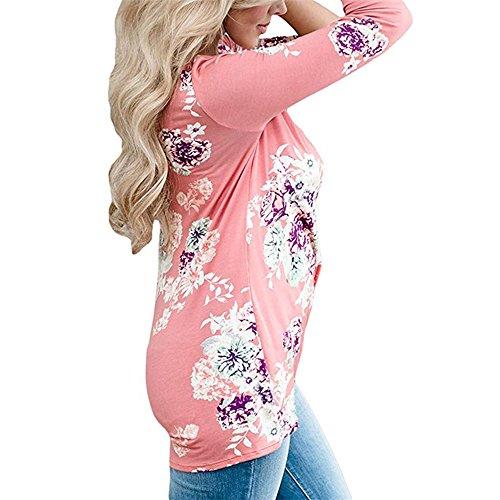 Dihope Femme Printemps Automne Top à Manches Longues Col Rond T-shirt Casual Tee-shirt Asymétrique Blouse Haut Rose