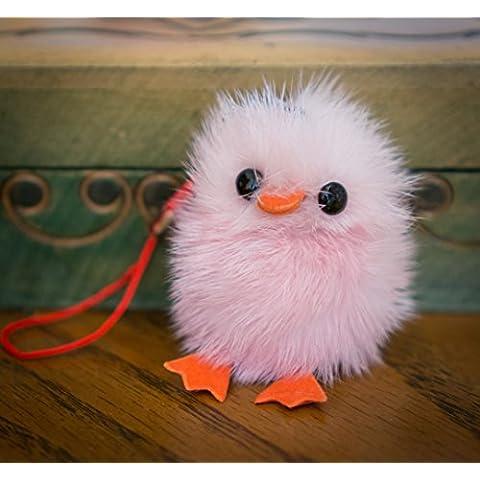 Buy 2Get 1Free. Pequeño Fur Cute Chick–Baby Bird Fluffy pato llavero pompón, encanto, pelo de animal, regalo único, diseño de, cadena, Fox, hurón Vogue Fashion colgante ropa novedad llavero y uso especial novedad accesorios llavero, rosa pastel