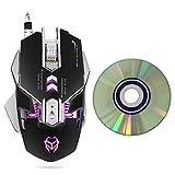 KKmoon G560 Macro Souris Filaire Gaming Mouse Définition de la Souris de Jeu concurrente USB Filaire Quatre lumières LED 3200DPI 7 Touches Métal Ajoutez Un Style de Poids avec Disque