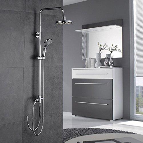 Auralum 180 ° Schwenkbare Duschsystem mit, Duscharmatur Duschset mit Handbrause und Regendusche