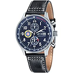 AVI-8 Men's Hawker Hurricane Chronograph Quartz Watch with Blue Dial Analogue Display and Black Leather Strap AV-4011-03