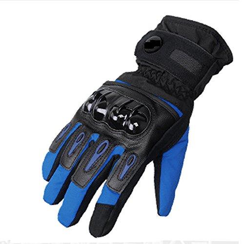 DOXUNGO Unisex Motorradhandschuhe wasserdicht warm Handschuhe Herren Touchscreen Herbst Winter für Motorrad Radfahren Wandern Outdoor Sport (Blau, M)