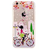 iPhone 6 Plus case, Uzzo [Slim Fit] [anti-graffio] iPhone 6 Plus (14 cm), custodia protettiva in silicone gel TPU trasparente gomma Dolphin Penguin Flower Girl stampa custodia per iPhone 6 Plus 5.5