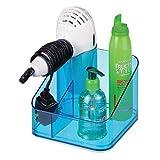mDesign Badorganizer – quadratische Aufbewahrungsbox mit Fönhalter und 2 Fächern – robuste Kunststoffbox für Haartrockner und Haarpflegeprodukte – ideal für Waschtisch oder Badregal – blau