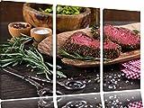 Leckeres Steak als 3-Teiler Leinwandbild 120x80 Bild auf Leinwand, XXL riesige Bilder fertig gerahmt mit Keilrahmen, Kunstdruck auf Wandbild mit Rahmen, gänstiger als Gemälde oder Ölbild, kein Poster oder Plakat