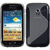 PhoneNatic Case für Samsung Galaxy Ace 2 Hülle Silikon grau S-Style Cover Galaxy Ace 2 Tasche + 2 Schutzfolien