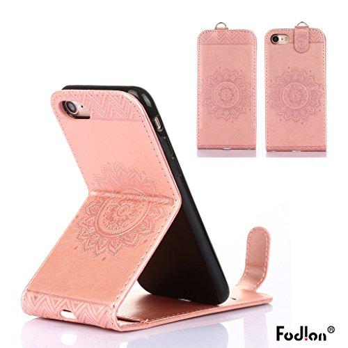 Cover iphone 7 plus Hülle,Fodlon® Totem Geprägt Up-Down öffnen PU-Leder Flip Stand mit Schwarz Lanyard Hülle Abdeckung zum iphone 7 plus-Purple Rosengold