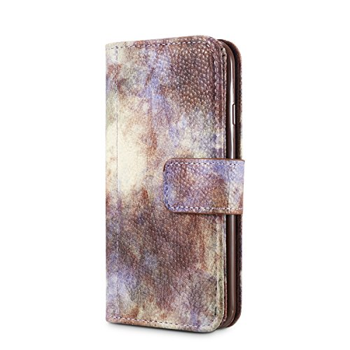 iPhone 8 Case, Fraelc Ultraslim Schutzhülle Retro Permium Leder Flip Wallet Bookstyle Handyhülle mit Magnetverschluss, Stand Funktion und Kreditkarte Slots für Apple iPhone 7 / iPhone 8 in Marmor Must Grau