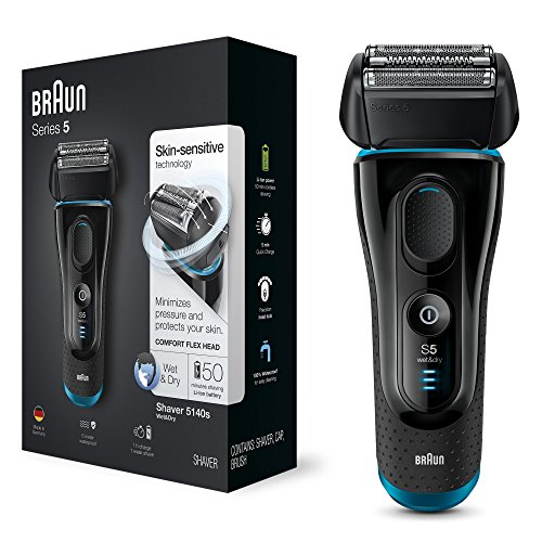 Price comparison product image Braun Series 5 5140s Men Face Shaver, Foil Shaver, Mens Wet and Dry Razor, Rechargeable and Cordless Razor (UK 2-Pin Bathroom Plug), Black/Blue