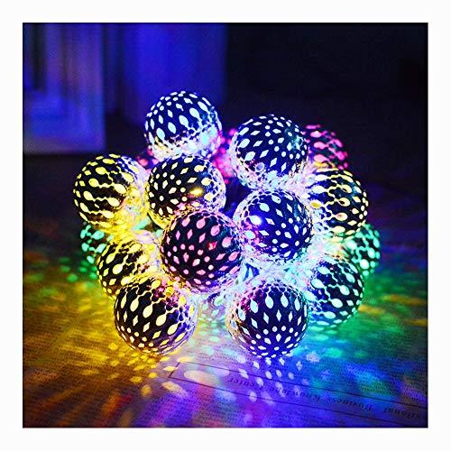 SDCNDAND Solar Halloween Dekorationen Lichterketten LED wasserdichte Marokkanische Kugel Lichterkette LED Urlaub Lichter Für Outdoor Decor Multicolor,Color (Joker Heist Kostüm)