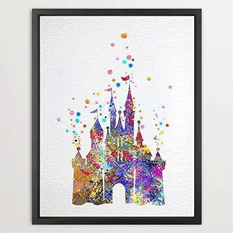 dignovel Studios Cenicienta Disney princesa castillo de la acuarela ilustración art print Wall Art Póster decoración del hogar arte colgante de pared niños arte regalo de cumpleaños n002-unframed