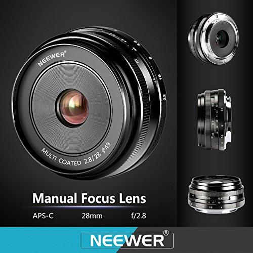 Neewer® NW-E-28-2.8 28mm f/2.8 Manueller Fokus Prime Fest Objektiv für Sony E-Mount Digitalkameras, wie Sony NEX3, 3N, 5, 5T, 5R, 6, 7, A5000, A5100, A6000, A6100 und A6300