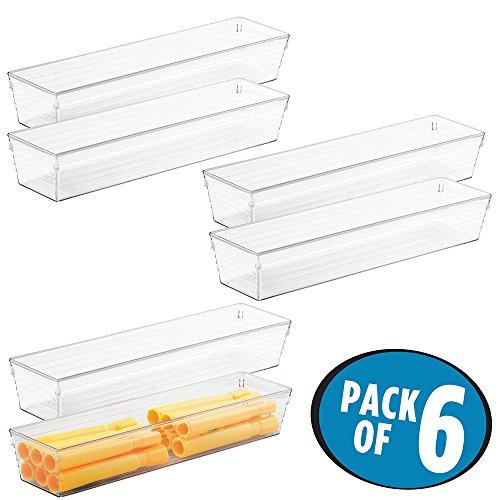 mDesign Schreibtisch- und Schubladen Organizer transparent, 6er Set – Aufbewahrungsfächer für Kugelschreiber, Bleistifte und Textmarker - Optimales Ordnungssystem für Ihren Arbeitsplatz