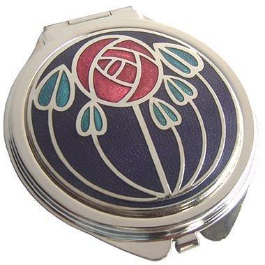 Miroir de poche Motif Rennie Mackintosh Design Rose rouge sur Aqua laisse-Noir