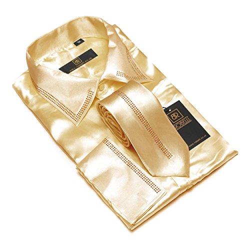 Herren lässig elegant Baumwolle/Satin langärmlig Hemd & Krawatte Satz Sammlung Champagne No. 1