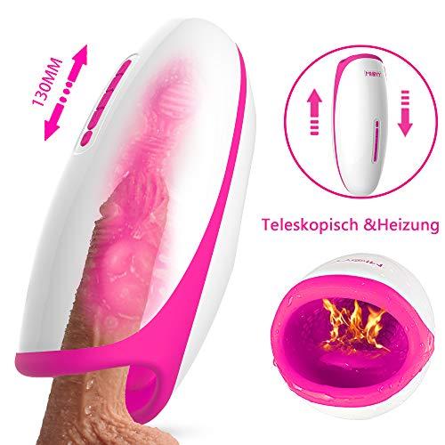 Oral Masturbator 5 Teleskopischer 38 Grad Heizung 20 Vibrationmodi Doppel Motor und Zunge Vibrator Men Cup Taschenvagina Masturbieren für Männer von Fancy Lover (Teleskopisch)