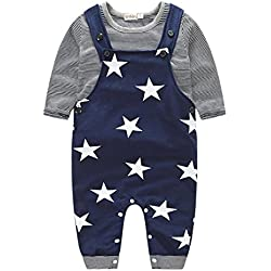para la ropa del bebé,RETUROM fresco Niños bebés Pantalones conjuntos de bandas pantalones de la camiseta Top Bib general Trajes (80, Negro)
