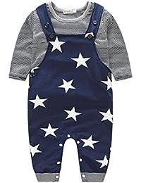 para la ropa del bebé,RETUROM fresco Niños bebés Pantalones conjuntos de bandas pantalones de la camiseta Top Bib general Trajes