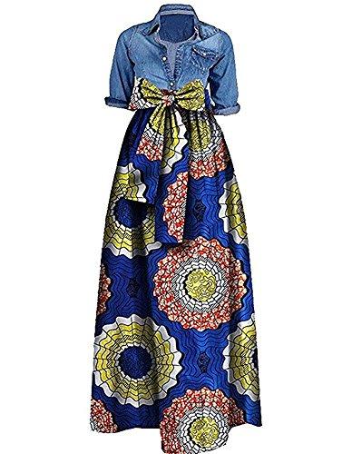 Outgobuy Damen Traditionelles afrikanisches Dashiki Kleid Langes Maxi EIN Linie Rock Ballkleid