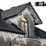 Lichterkette Eiszapfen 500 LED für Innen und Außen, helle weiße Baum Lichter, Länge 17.5m, GS Geprüft, Optional mit 8 Leuchtmodi/Memory/ Timer, Weißes Kabel - 2 Jahre Garantie